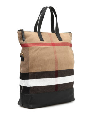 Burberry: totes bags online - Check patterned canvas bag