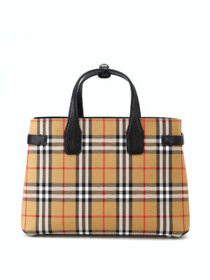BURBERRY: shopper - Borsa Banner M in tessuto Check e pelle nera