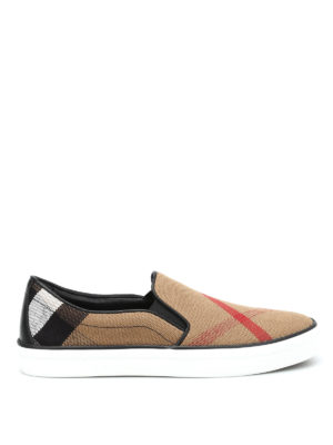 Burberry: trainers - Checked canvas slip-ons