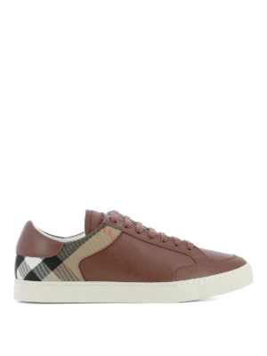 Burberry: trainers - Leather sneakers with Check insert