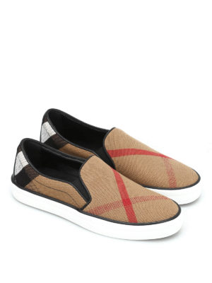 Burberry: trainers online - Checked canvas slip-ons