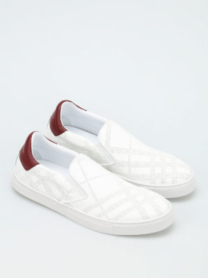 Burberry: trainers online - Copford drilled Check pattern shoes