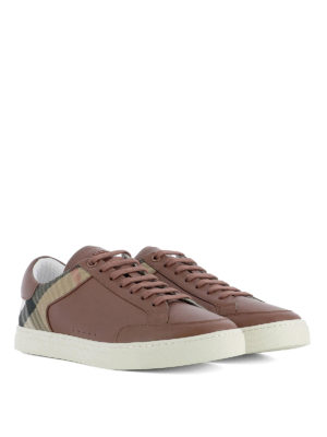 Burberry: trainers online - Leather sneakers with Check insert