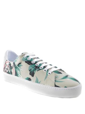 Burberry: trainers online - Peony canvas and leather sneakers