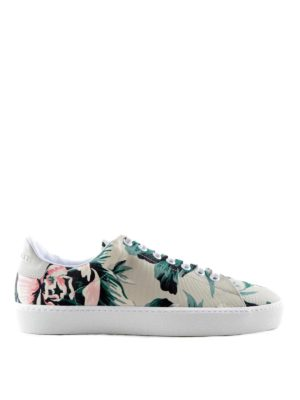 Burberry: trainers - Peony canvas and leather sneakers