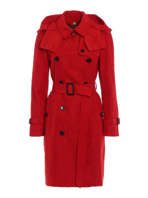 Burberry: trench coats - Amberford red taffeta trench coat