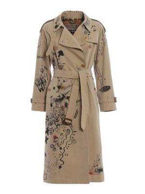 BURBERRY: cappotti trench - Trench in cotone con stampa disegni