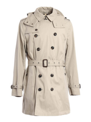 Burberry: trench coats - Hooded cotton trench