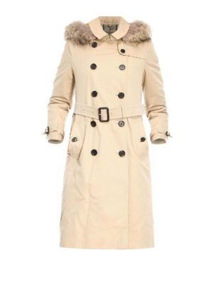 Burberry: trench coats - Kensington fur detail trench coat