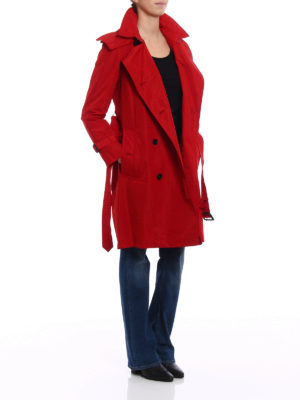 Burberry: trench coats online - Amberford red taffeta trench coat