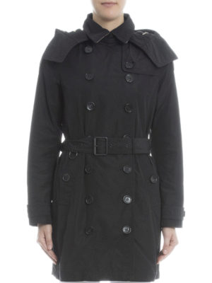 Burberry: trench coats online - Detachable hood taffeta trench