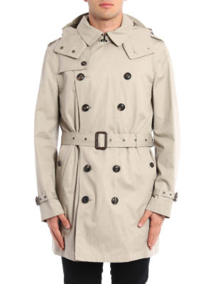 Burberry: trench coats online - Hooded cotton trench
