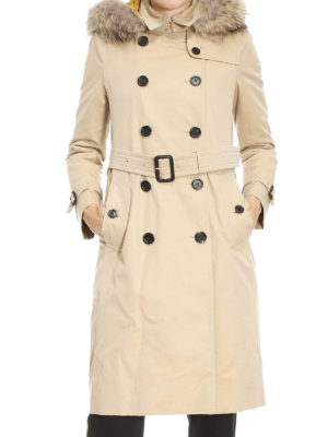 Burberry: trench coats online - Kensington fur detail trench coat