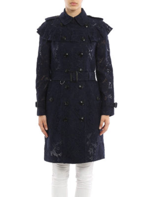 Burberry: trench coats online - Silk and cotton sheer lace trench