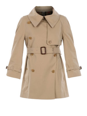 BURBERRY: cappotti trench - Trench in cotone con colletto over