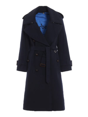 BURBERRY: cappotti trench - Trench over blu scuro Regina in lana