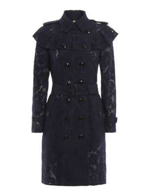 Burberry: trench coats - Silk and cotton sheer lace trench