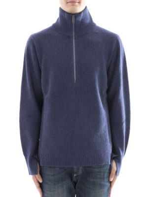 Burberry: Turtlenecks & Polo necks online - Wool blend zipped polo neck sweater