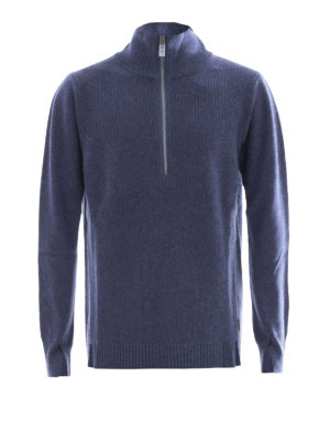 Burberry: Turtlenecks & Polo necks - Wool blend zipped polo neck sweater