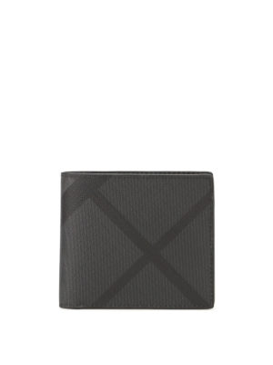 Burberry: wallets & purses - Charcoal London check bifold wallet