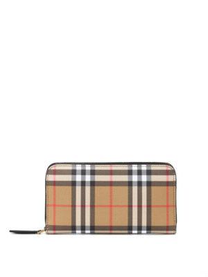 BURBERRY: portafogli - Portafoglio Elmore in pelle Vintage check