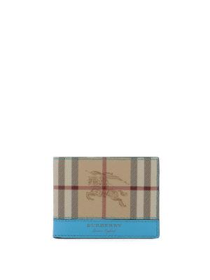 BURBERRY: portafogli - Portafoglio in check e pelle fluo