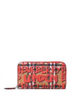 BURBERRY: portafogli - Portafoglio zip around tartan con graffiti