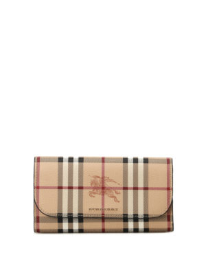 Burberry: wallets & purses - Haymarket Check snap flap wallet