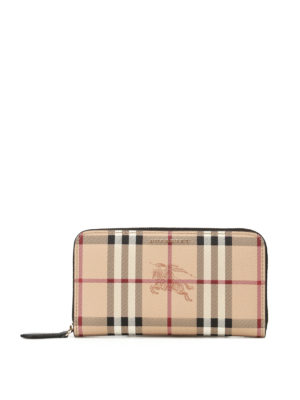 Burberry: wallets & purses - Haymarket Check zip around wallet