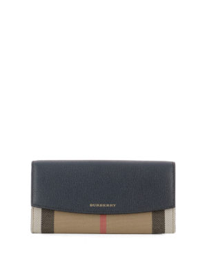 Burberry: wallets & purses - Leather and cotton wallet