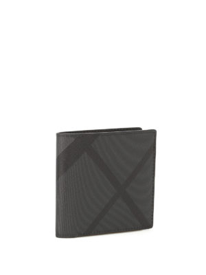 Burberry: wallets & purses online - Charcoal London check bifold wallet