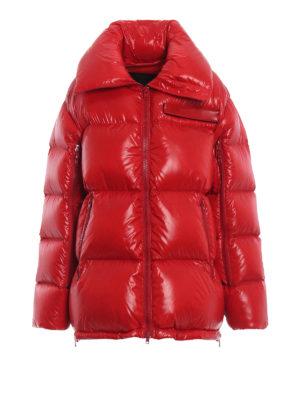 CALVIN KLEIN: giacche imbottite - Piumino over rosso arancio in nylon lucido