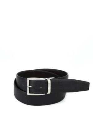 CANALI: cinture - Cintura in pelle con fibbia logo argentata