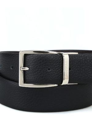 CANALI: cinture online - Cintura in pelle con fibbia logo argentata