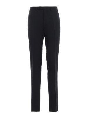 CANALI: Pantaloni sartoriali - Pantaloni classici in fresco lana blu scuro