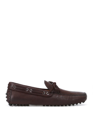 Car Shoe: Loafers & Slippers - Brown goatskin driver shoes