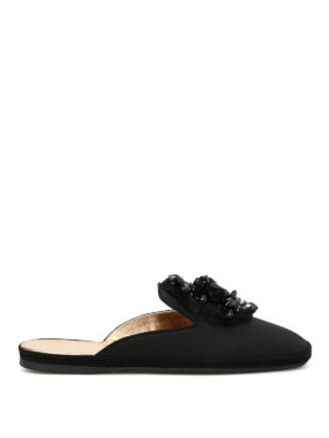 Car Shoe: Loafers & Slippers - Embellished sateen slippers