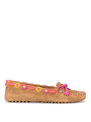 Car Shoe: Loafers & Slippers - Flower embellished suede moccasin