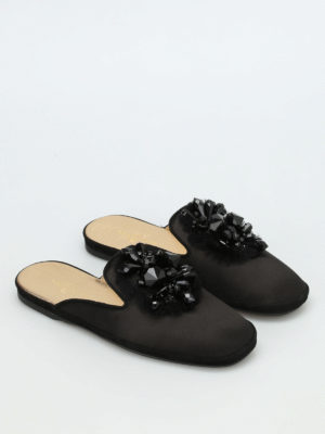 Car Shoe: Loafers & Slippers online - Embellished sateen slippers