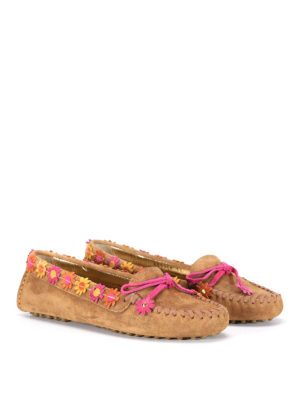 Car Shoe: Loafers & Slippers online - Flower embellished suede moccasin