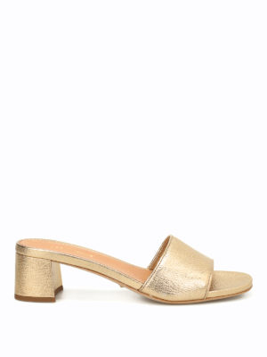 Car Shoe: sandals - Hammered leather slide sandals