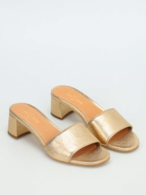 Car Shoe: sandals online - Hammered leather slide sandals