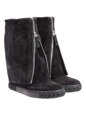 Casadei: boots online - Reversable suede zipped boots