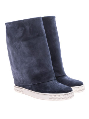 Casadei: boots online - Reversible blue suede wedge boots