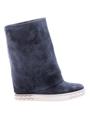 Casadei: boots - Reversible blue suede wedge boots