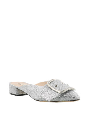 Casadei: mules shoes online - Alexa silver-tone mules