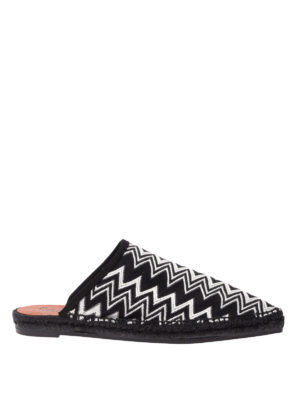 CASTANER: mules shoes - Black and white chevron pattern Ross mules