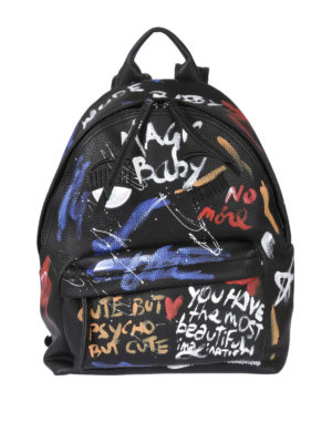 Chiara Ferragni: backpacks - Graffiti print eco-leather backpack
