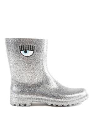 CHIARA FERRAGNI: stivali - Stivaletti da pioggia Flirting argentati