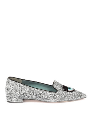 Chiara Ferragni: flat shoes - Logomania embroidered glitter flats